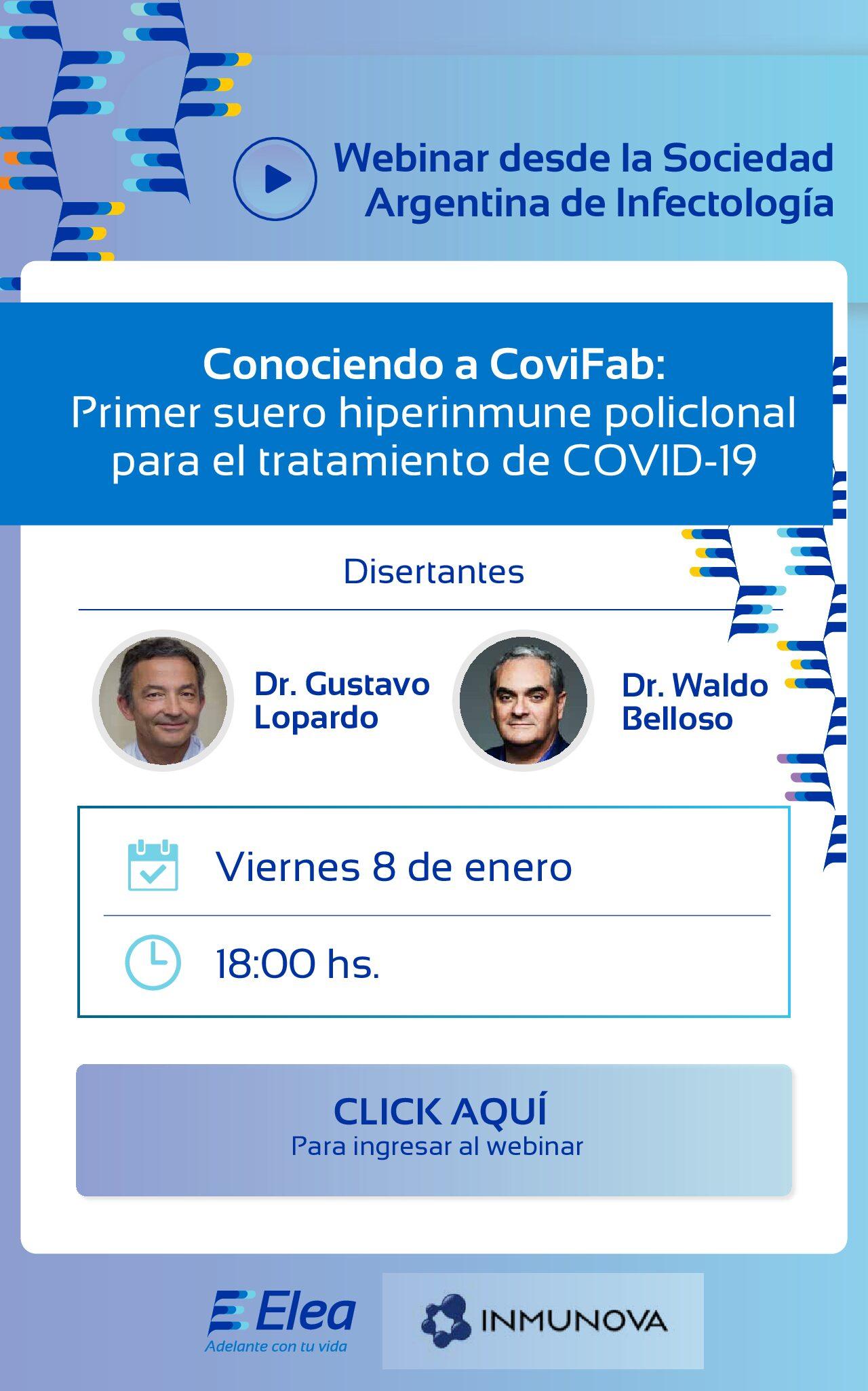 Nuevo Webinar 08/01 – 18 hs! Primer suero hiperinmune policlonal para el tratamiento de COVID 19 – Laboratorios ELEA